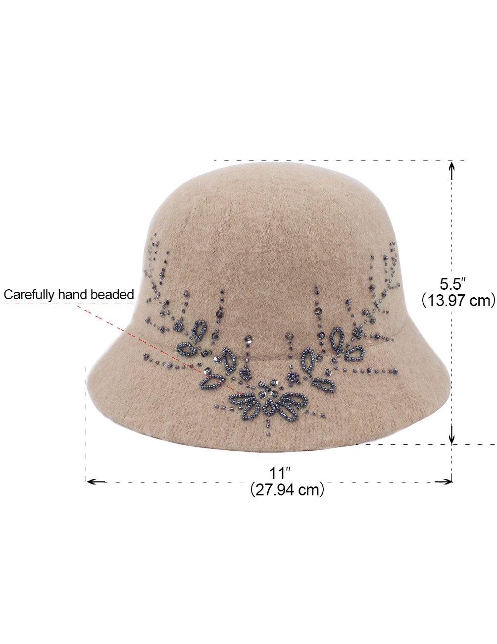 Dahlia Women's Wool Blend Hand Beaded Winter Bucket Hat/Cloche Hat - Tan by Dahlia (Image #6)