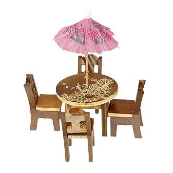 Chytaii Micro Landschaft Tisch Miniatur Garten Tisch Stuhl Set
