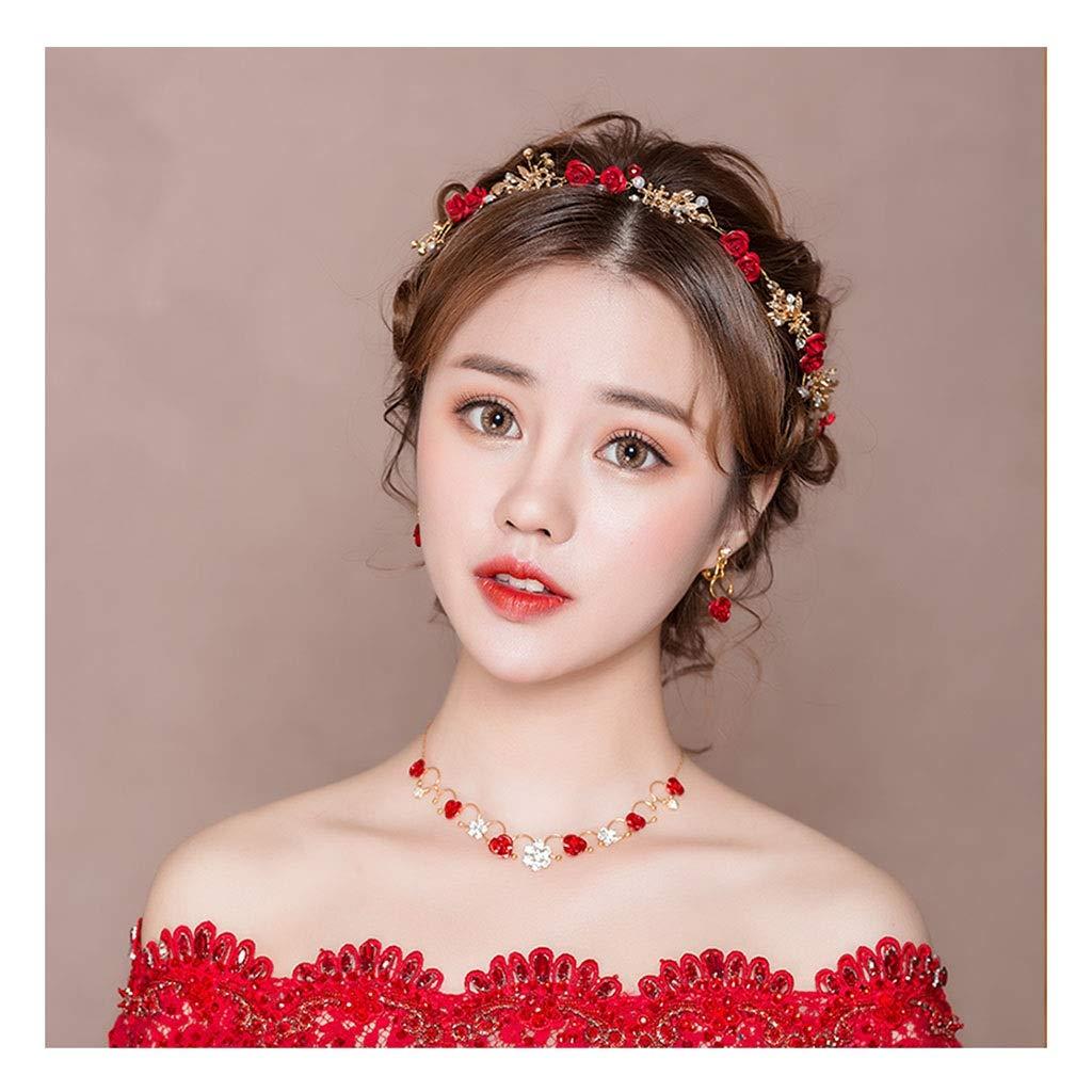 Wreath Flower Bride Headdress Wedding Dress Headband Hair Band Accessories Red (Color : D)
