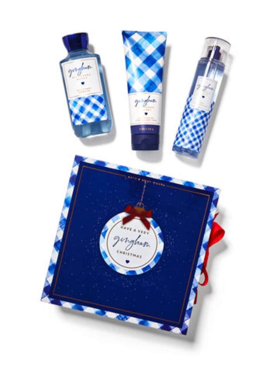 Bath and Body Works GINGHAM Gift Box Set - Body Lotion, Fine Fragrance Mist & Shower Gel inside a gingham gift box. Full Size