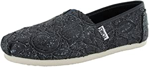 TOMS Womens Lace Glitz Slip On Alpargata Flat Shoe