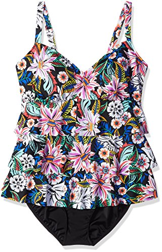 ac33c2e3e2bef Shape Solver Women's Plus Size Bora Triple Tier Fauxkini One Piece  Swimsuit, Black, 24W