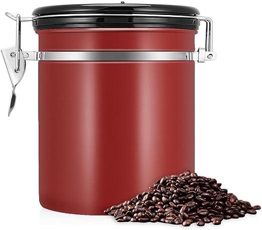 envase herm/ético de los granos de caf/é del envase de caf/é 1lb del acero inoxidable 1.5L 304 Envase del caf/é Vino rojo