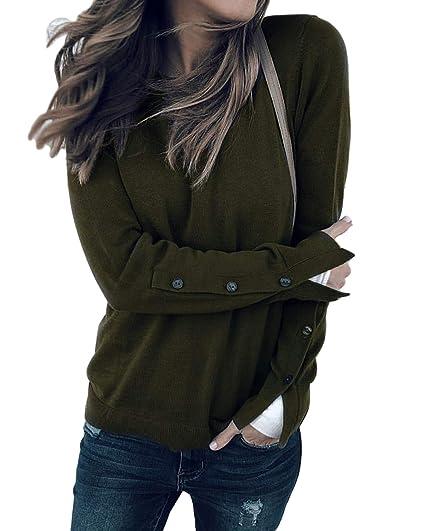 0b3eafc449742d Kenoce Damen Longshirt Sweatshirt Langarmshirt Rundhals V-Ausschnitt  Sweatjacke Pullover Pulli Bluse Oberteile A-