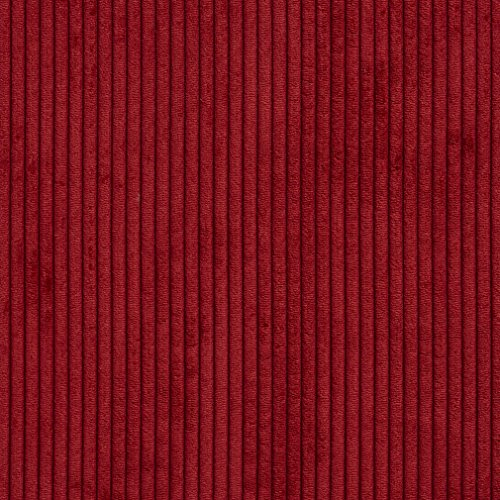 B0700D Deep Red Corduroy Striped Soft Velvet Upholstery Fabric by The Yard
