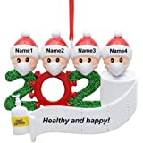 2020 Covid Christmas Tree Ornaments, Personalized Ornaments Quarantine Survivor Family of 2 with Face Cover, Hand Sanitizer a