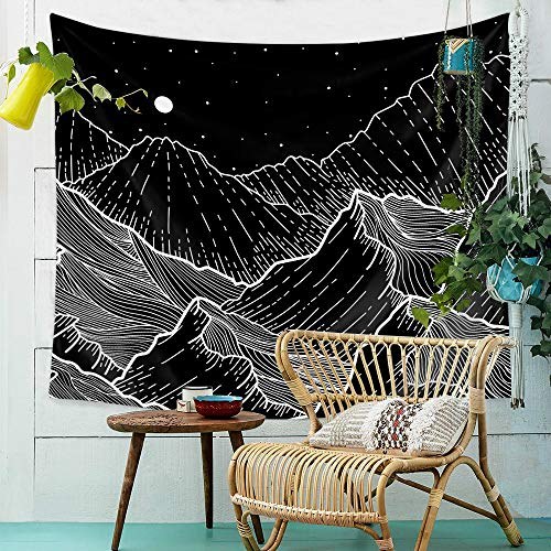 ZHH Mountain Wall Hanging Tapestry Moon Wall Tapestries Nordic Simple Geometry Home Decor, Beautiful Starry Sky Decor for Bedroom Living Room College Dorm Beach Throw 78X59 inch- Black and White D