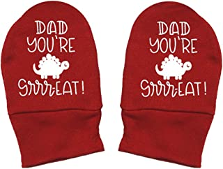 Mashed Clothing - Dad You're Great (Dino) - Daddy Gift Father's Day - Thick Premium, Thick & Soft Baby Mittens
