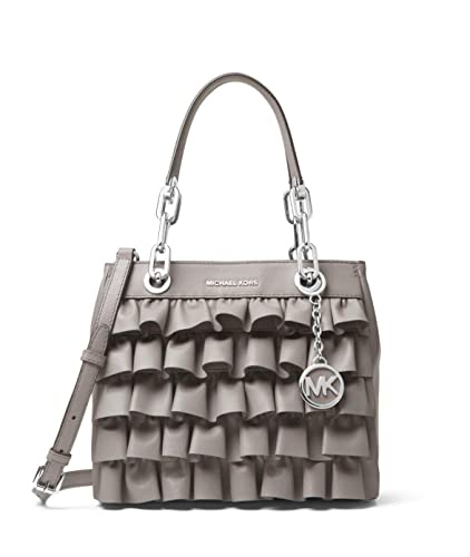 b9a7492f3254 MICHAEL Michael Kors Cynthia Small Ruffled Leather Satchel in Pearl Grey   Handbags  Amazon.com