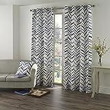 Tony's Textiles Pair of Kato Chevron Geometric Striped Grommet Curtain Panels – Blue Cream 90″ Wide x 90″ Drop