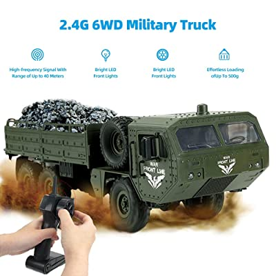 RC Military Truck, 6WD 2.4GHz Remote Control Army Car Off-Road Truck for Adults Kids: Toys & Games