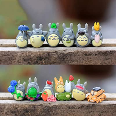 ZAMTAC 12 Pcs/Set My Neighbor Totoro Mini Figure DIY Moss Micro Landscape Toys Wholesale New Fairy Garden Resin Decoration: Home & Kitchen