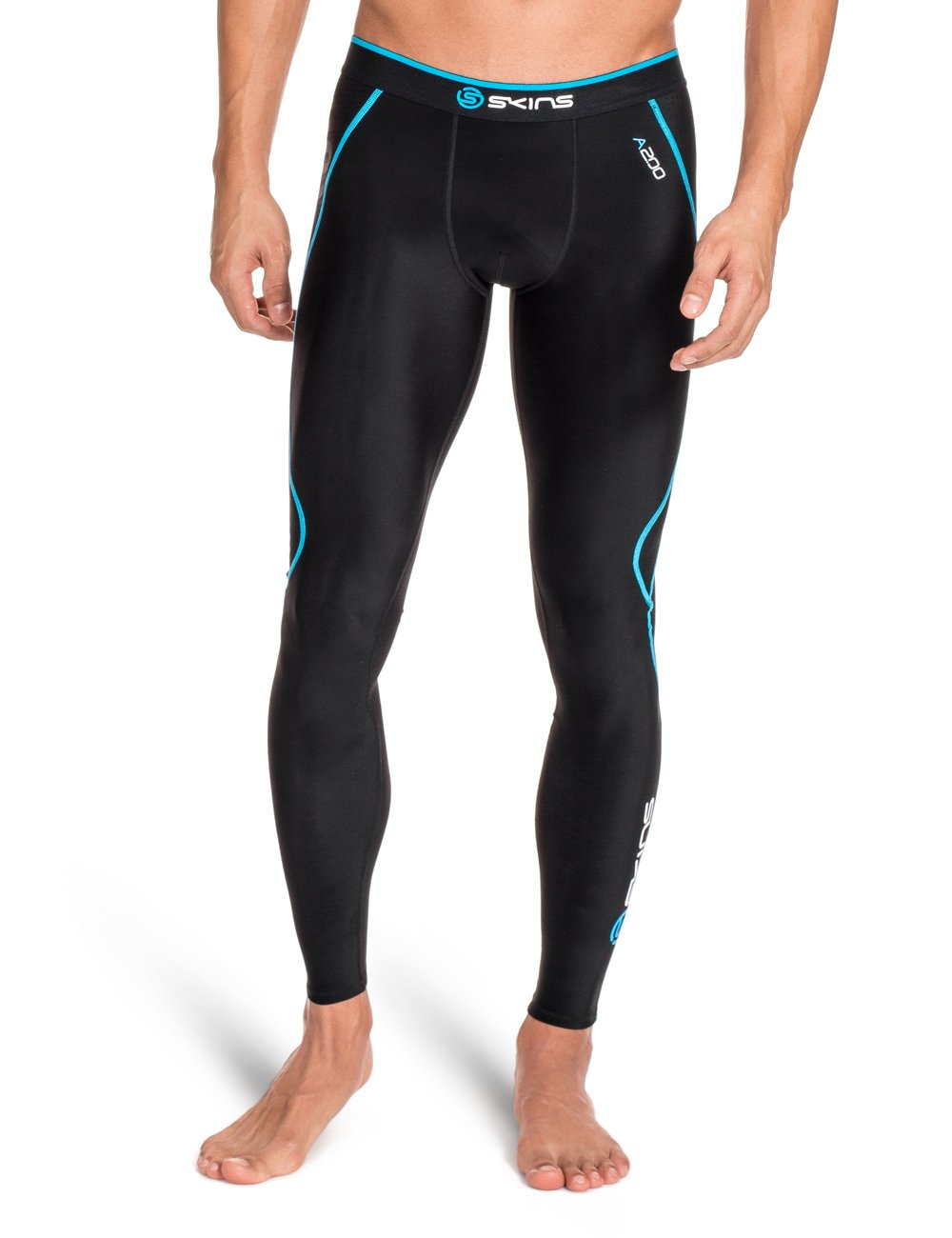 SKINS Men's A200 Compression Long Tights, Black/Neon Blue, X-Small B60182001