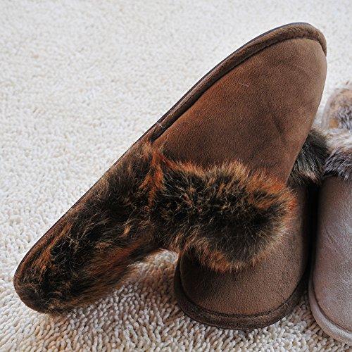 Alxcio Wildleder Hausschuhe Hüttenschuhe Unisex Slipper Herren Damen Schuhe Warm Gefuettert Pantoffeln für Mädchen Junge, Grau Kaffee