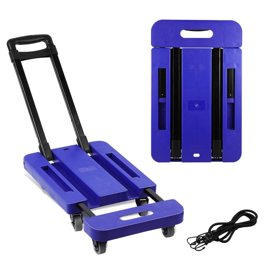 Belovedkai Luggage Cart, Folding Portable Hand Truck with 4-Wheel & 2 Straps (Blue/ L011)