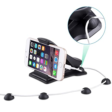 UNHO Soporte Móvil para Coche Soporte Salpicadero para GPS Teléfono Móvil con 4 Clips de Cable