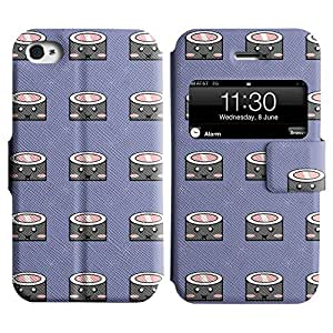 LEOCASE Feliz Sushi Funda Carcasa Cuero Tapa Case Para Apple iPhone 4 / 4S No.1000819