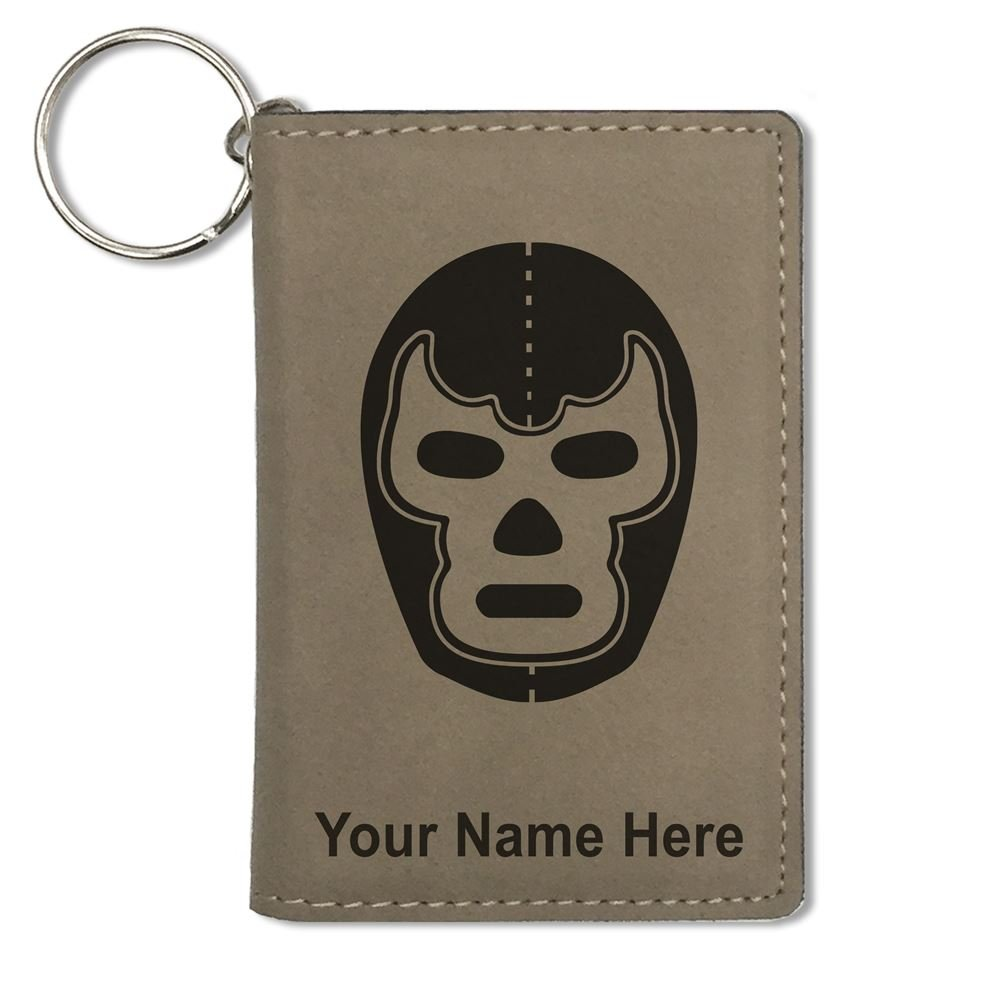 ID Holder Wallet, Luchador Mask, Personalized Engraving Included (Light Brown)