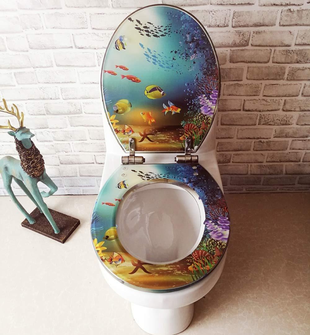 WC Sitz Sedile del gabinetto Resina Sedile del Water OUV Rotondo Universale Pesce Marino Copertura del Sedile della Toilette in Acciaio Inox a Rilascio Lento Cerniera a sgancio rapido