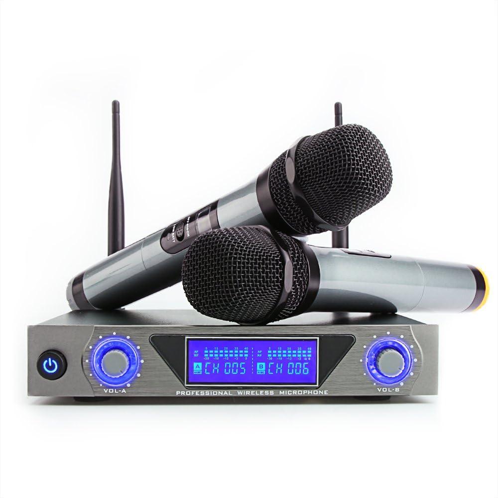 Micrófono Inalámbrico Profesional, Sistema de Micrófono Inalámbrico de Mano UHF Micrófono Dinámico de Karaoke Portátil con Pantalla LED para Reuniones/Bodas/Clases/Fiesta/Entretenimiento interior