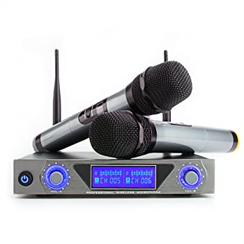 professional wireless microphone system for karaoke machine with receiver to. Black Bedroom Furniture Sets. Home Design Ideas
