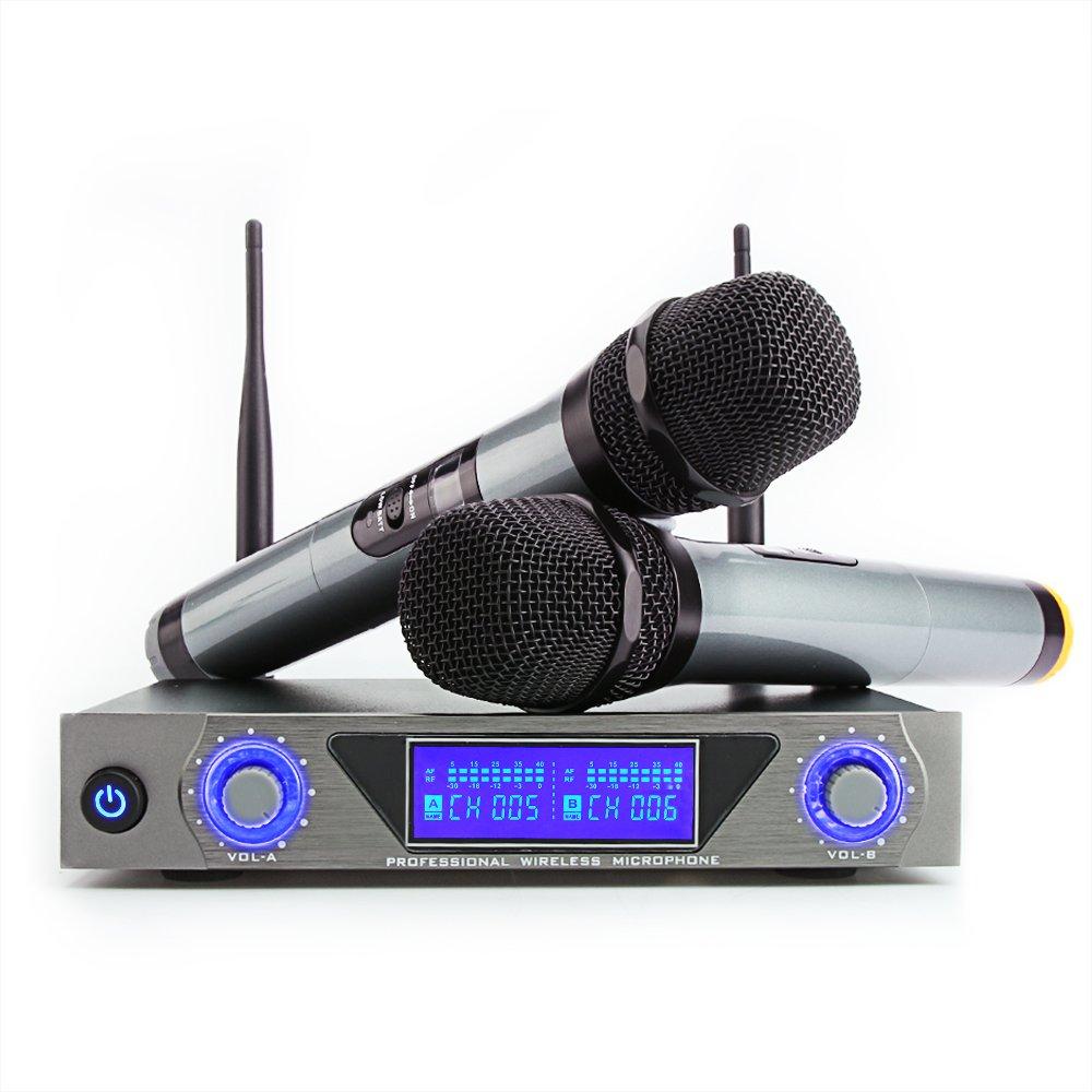 Micro sans Fil bluetooth 4.1 Microphone Syst/ème Portable Micro Karaoke Professionnel VHF 1 R/écepteur 2 Micro Portable HF Distance Karaok/é F/ête Conf/érence Spectacle Bar R/éunion Studio