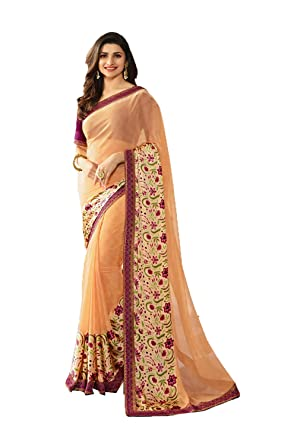 cf81896578 Indian Sarees for Women Wedding Designer Party Wear Traditional Beige Sari.  at Amazon Women's Clothing store: