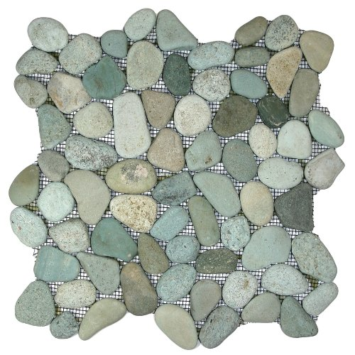 Sea Green Pebble Tile - Pebble Stone Floor Mosaic