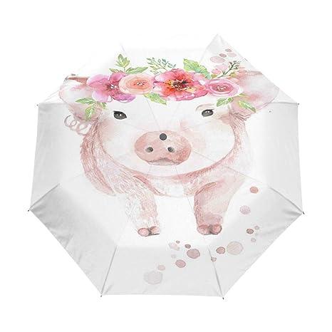 f560dc1d7cfc Amazon.com : OuLian Umbrella Watercolour Piglet with Flower Golf ...