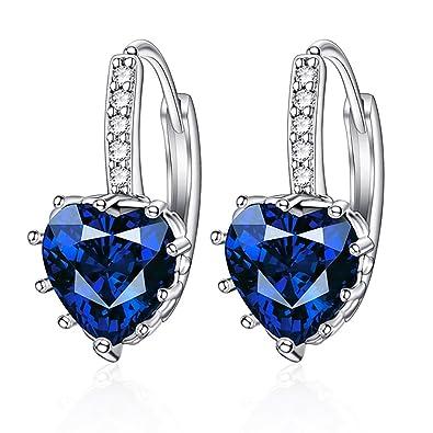 cebcdaaaf431 Aretes de diamantes en forma de corazón de diamante azul oscuro joyas  regalo idea para mujer novia madre hija brillo pendiente mujer plata hombre   ...