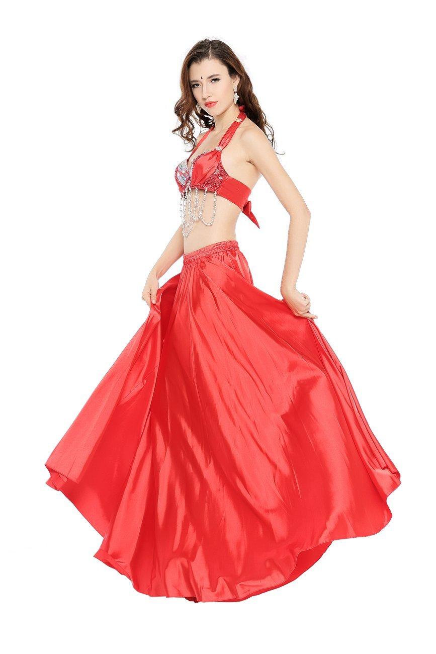 Dance Fairy Danza del Vientre Satén Faldas Largas Vestidos de Mujer,Rojo: Amazon.es: Ropa y accesorios