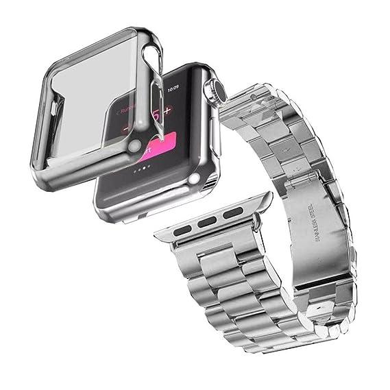 Reloj + funda, ankola caliente vender para Apple Watch Banda Correa de reloj de acero inoxidable Reemplazo Banda: Amazon.es: Relojes