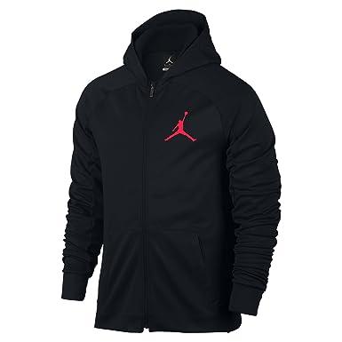 98c37b289e7404 NIKE Mens Jordan 360 Fleece Full Zip Hooded Sweatshirt Black Infrared 23  808690-010