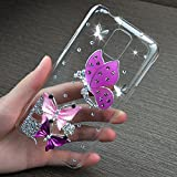 LG G3 Case, JCmax 3D Dazzling Bling Crystal Handmade Diamond Hard Back Shell [Exact-Fit] Premium Plastic Cover Rubberize [Non Slip] Slim Fitted Skin for LG G3 - Butterfly Girl