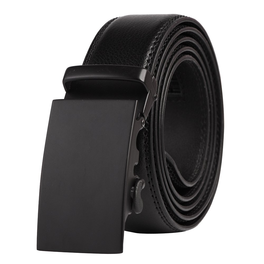QBSM Men's Leather Ratchet Click Dress Belt with Automatic Buckle Black, Exquisite Gift Box SNDJNBB01