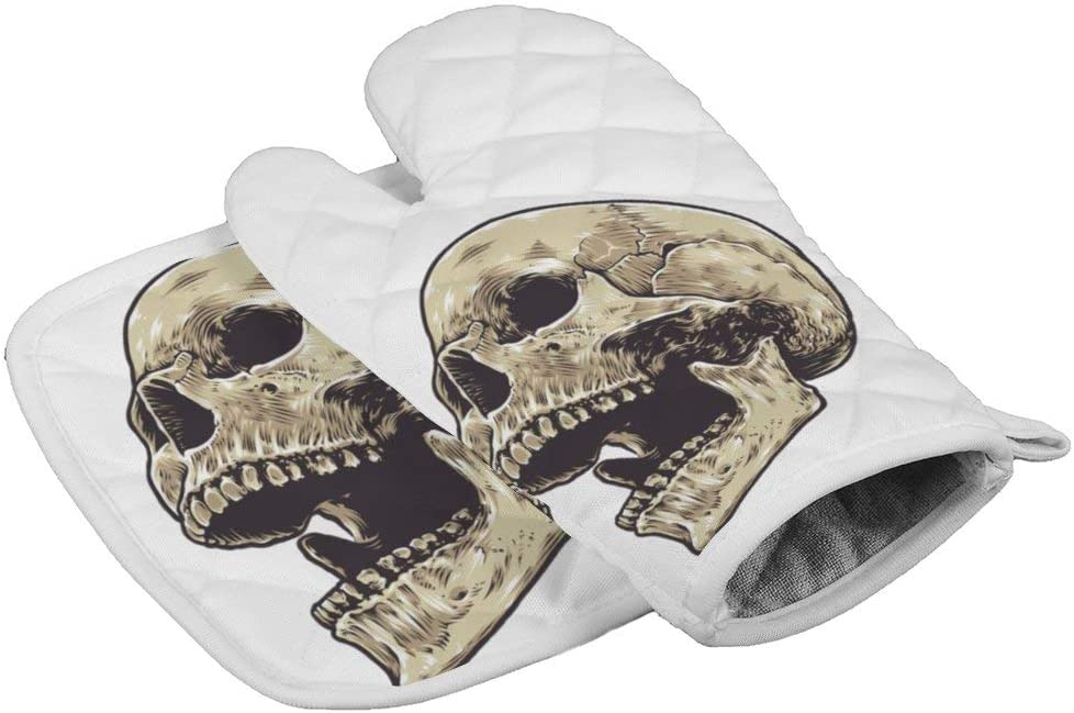 LijiahuaMitts Anatomical Skull Heat Resistant Oven Mitts and Pot Holders,Safe Kitchen Cooking Baking Grilling