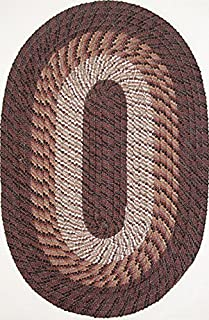 product image for Plymouth 7' Round Braided Rug in Chestnut Brown Made in USA