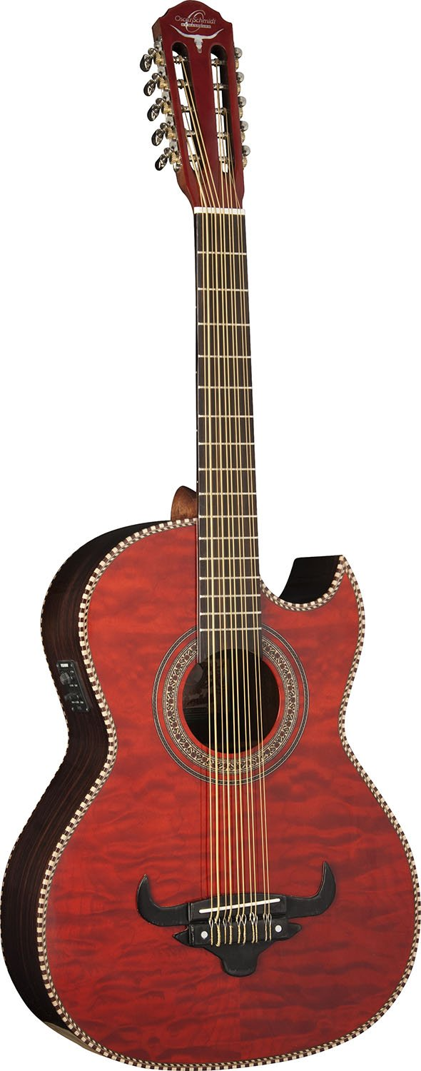 Oscar Schmidt OH32SEQTR Acoustic-Electric Bajo Quinto with Burled Maple Top and Deluxe Gig Bag - Transparent Red by Oscar Schmidt