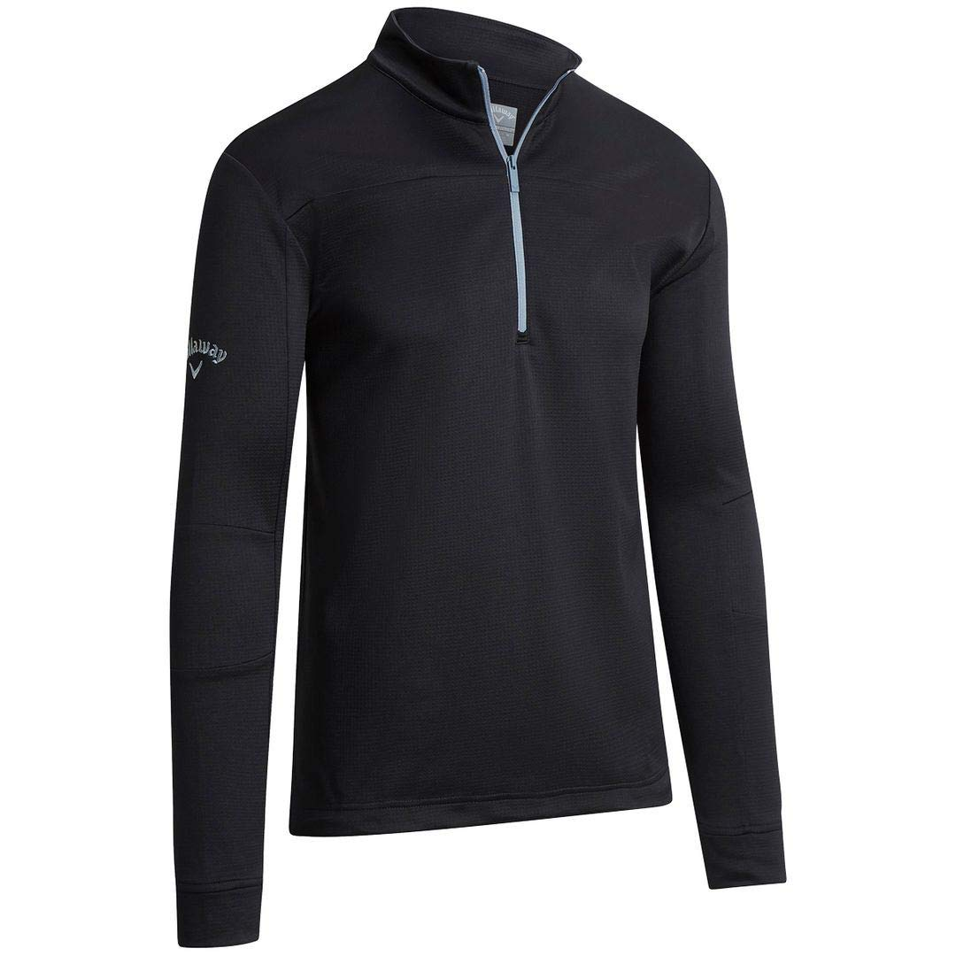 Callaway Golf 2019 Mens Pieced Waffle 1/4 Zip Thermal Pullover Sweater Caviar XL by Callaway