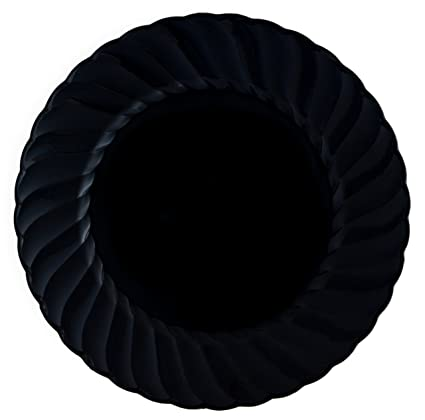 Kaya Collection - Black Round 9u0026quot; Buffet Plates - Fancy Disposable - Deluxe Quality -  sc 1 st  Amazon.com & Amazon.com: Kaya Collection - Black Round 9