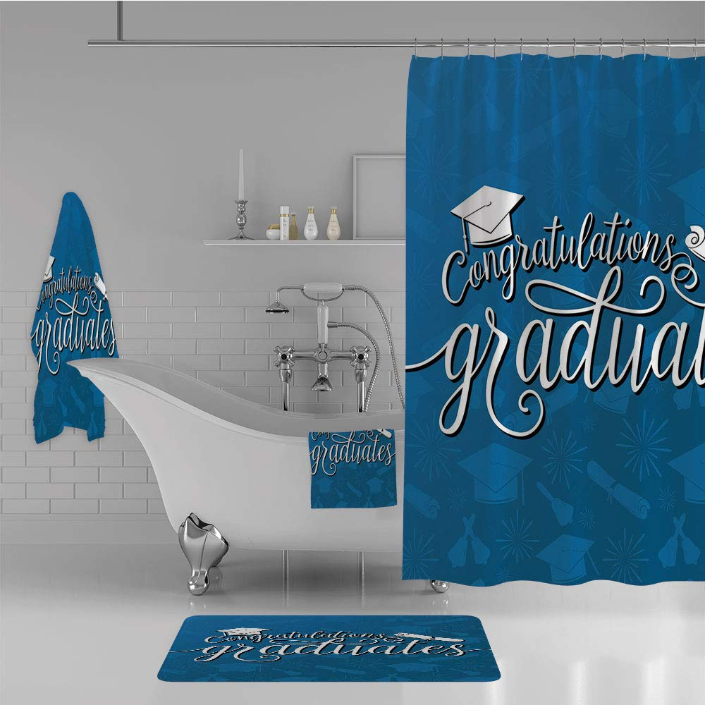 iPrint Bathroom 4 Piece Set Shower Curtain Floor mat Bath Towel Multi Style,Graduation Decor,College Celebration Ceremony Certificate Diploma Square Academic Cap,Blue and White,Diversified Design. by iPrint (Image #2)
