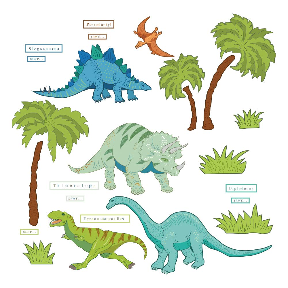 decalmile Dinosaur Wall Decals Kids Room Wall Decor Peel and Stick Wall Art Sticker for Nursery Baby Room Kids Bedroom Playroom Yanfeng
