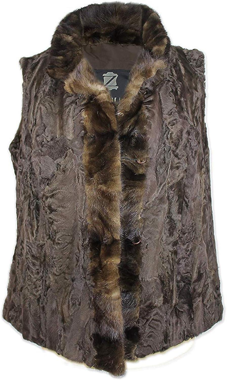 Zerimar Chaleco Mujer Piel Astracan | Chaleco de Vestir Mujer | Chaleco Mujer sin Mangas | Chaleco Mujer Pelo Natural | Chaleco de Pelo Mujer | Chaqueta sin Mangas Mujer | Color Marrón Talla 48