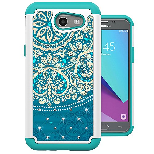 for Samsung Galaxy J3 Emerge Case, J3 2017 Case, J3 Prime Case, Amp Prime 2 Case, Express Prime 2 Case, MagicSky [Shock Absorption] Studded Rhinestone Bling Dual Layer Protective Case Cover (Flower2)