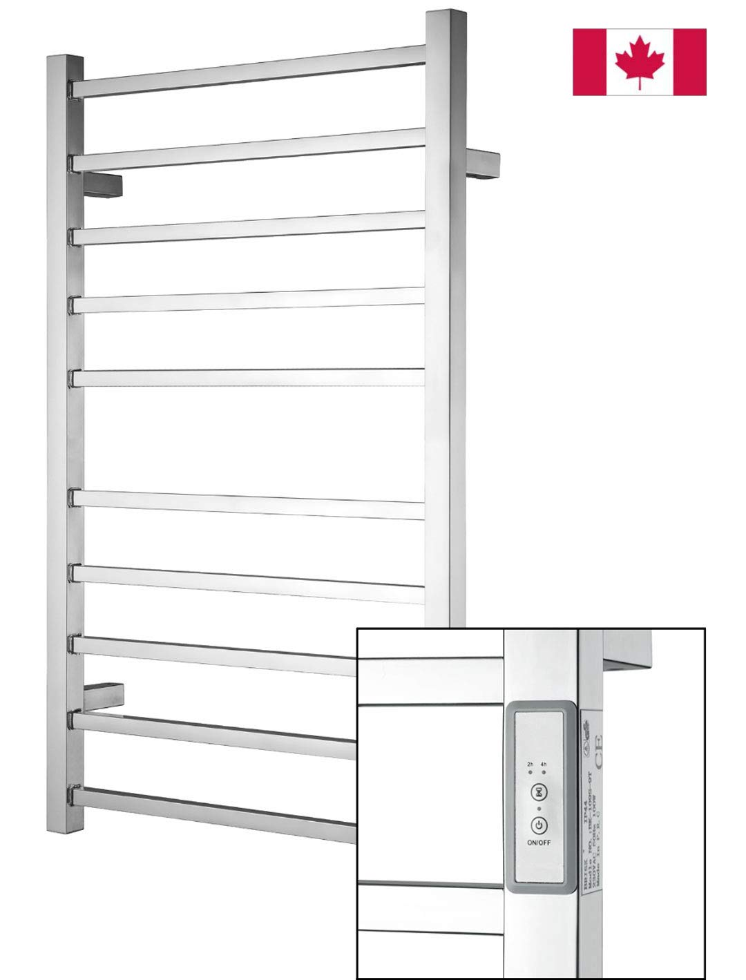 Towel Warmer | Built-in Timer with Led Indicators | 3 Timer Modes: ON/Off, 2 H, 4 H | Wall Mounted | 10 Bars | High Polish Chrome Stainless Steel by Odass