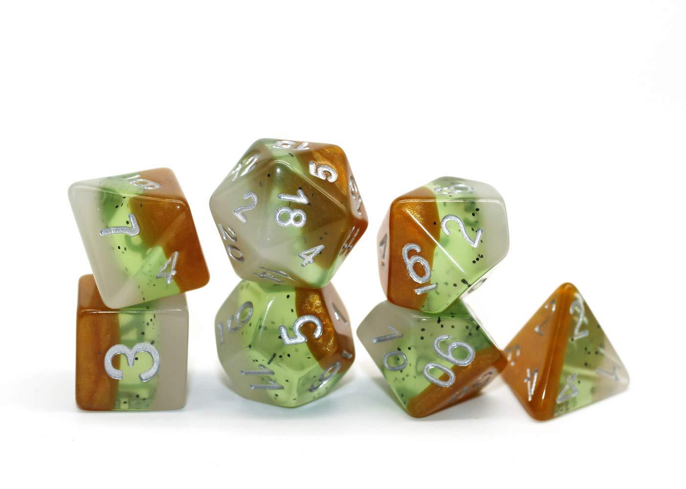 Flexble Polyedrische W/ürfel Pathfinder RPG,MTG 7 W/ürfel Set W20 W12 W10 W8 W6 W4 Kiwi W/ürfel Obst Serie Mehrfarbig DND Spielw/ürfel Set f/ür Dungeons und Dragons D/&D