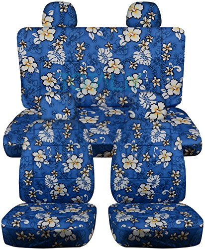 Hawaiian Print Car Seat Covers w 4 (2 Front + 2 Rear) Headrest Covers: Blue w Flowers - Semi-custom Fit - Full Set - Will Make Fit ANY Car/Truck/Van/SUV (4 Prints) (Custom Headrest)