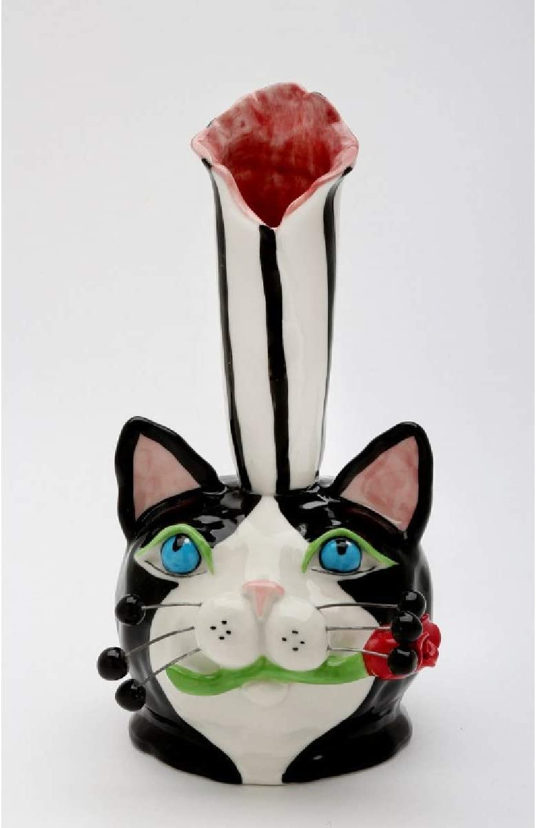 Cosmos Gifts 20752 Cat Bud Vase – Bloom, 6 High, Blue