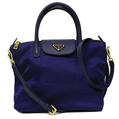 9f0feb2ec6d5ad Prada BN2106 Royal Blue Tessuto Saffian Nylon and Leather Shopping Tote  Bag: Handbags: Amazon.com