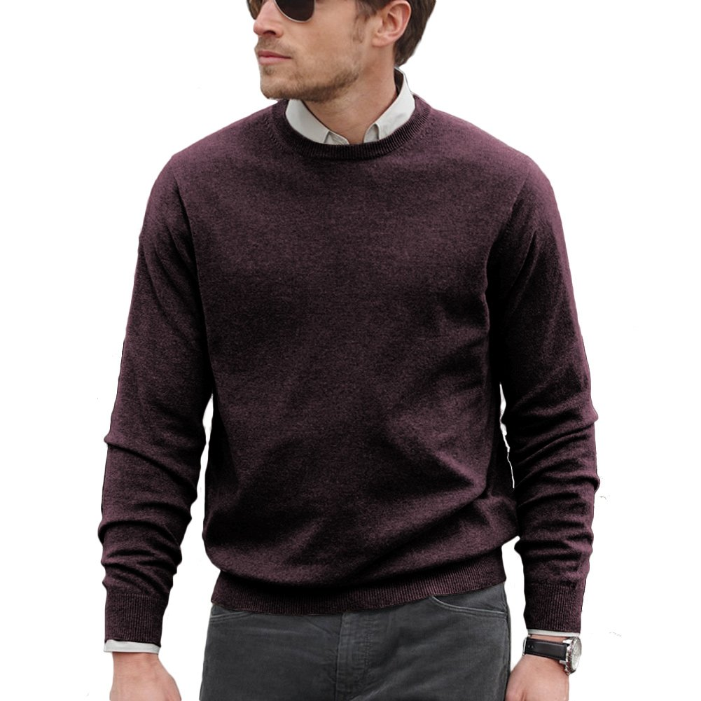 Parisbonbon Men's 100% Cashmere Crew Neck Sweater Color Aubergine Size 2X by Parisbonbon